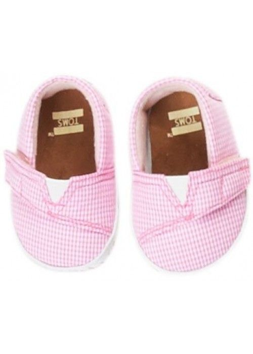 TOMS Shoes Pink Gingham Tn Crib