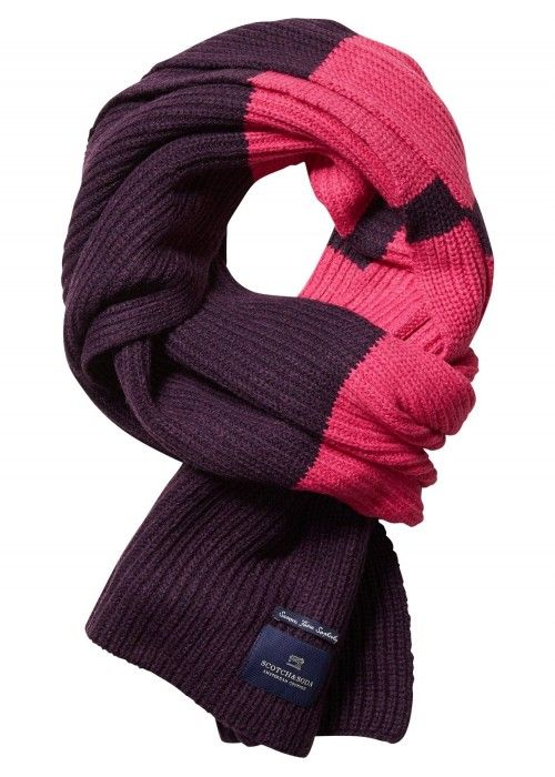 Scotch & Soda Knitted scarf block stripes