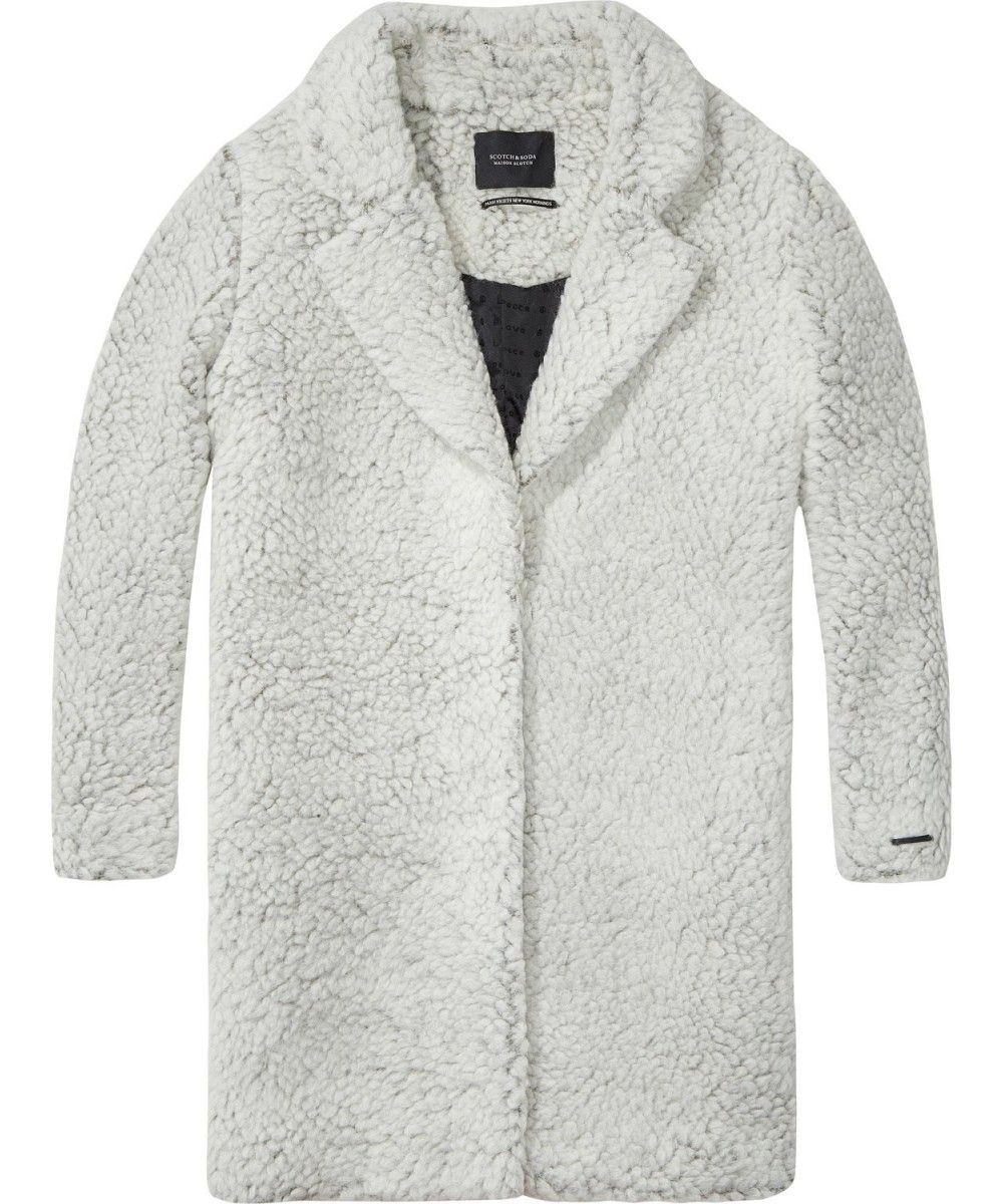 Maison Scotch Teddy bear cocoon fit coat