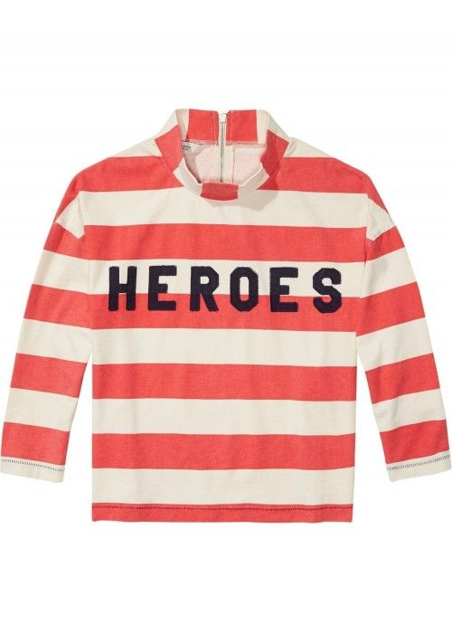 Maison Scotch Striped tee with collar