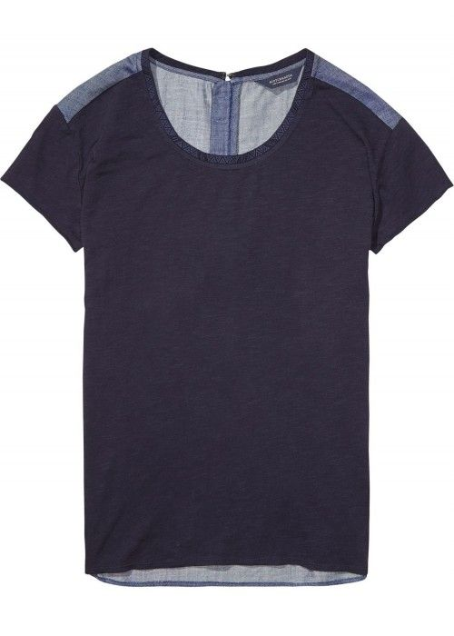 Maison Scotch S/S Jersey Tee with woven back