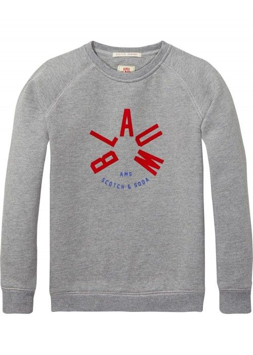 Scotch Shrunk Crewneck Sweat with AMS Blauw