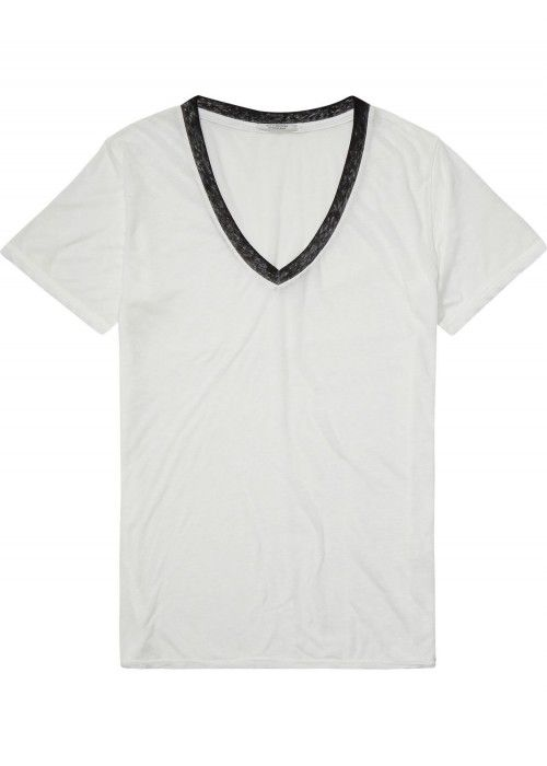 Maison Scotch Burn out tee with deep v-neck