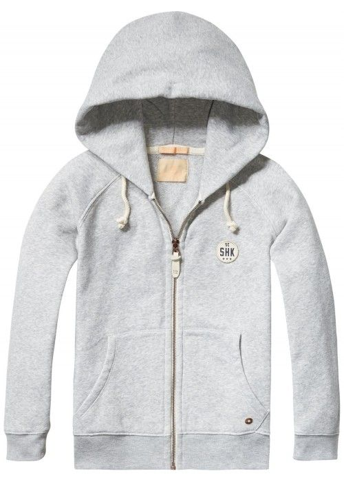 Scotch Shrunk Poly cotton hooded zip-through