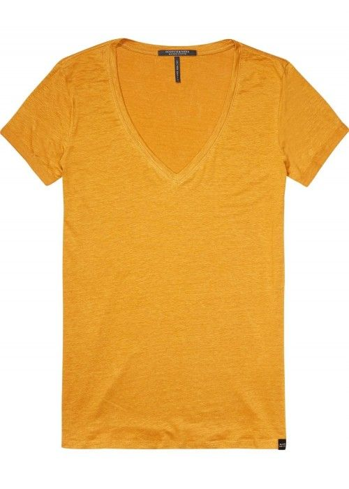 Maison Scotch Basic linen V-neck tee