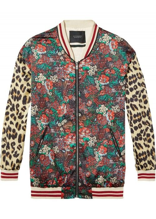 Maison Scotch Silky feel print mixed bomber