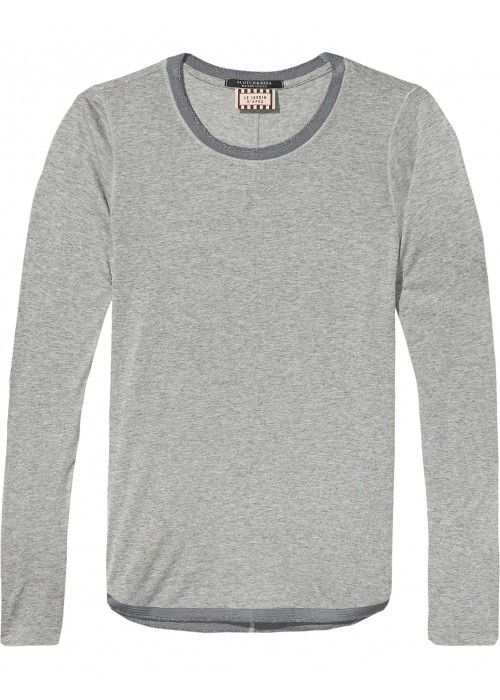 Maison Scotch Longsleeve basic tee with curv