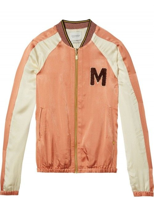 Maison Scotch Colourblocked satin bomber