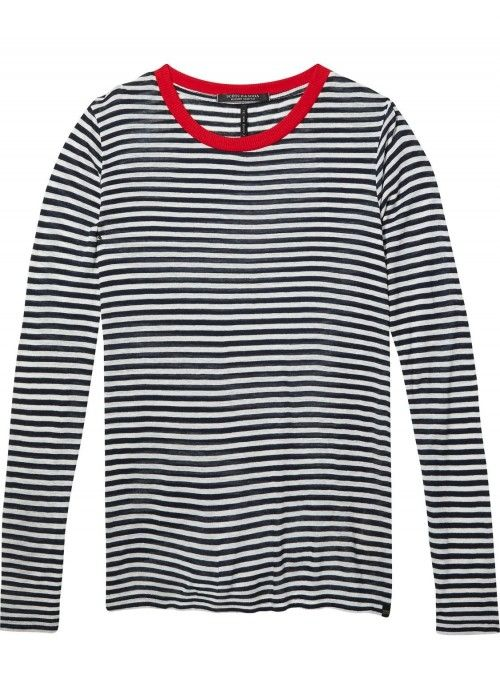 Maison Scotch Long sleeve striped tee  with