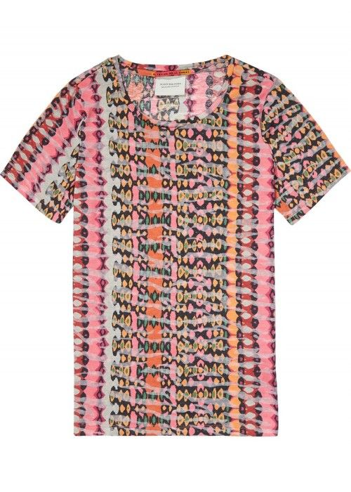 Maison Scotch Straight fit printed tee with