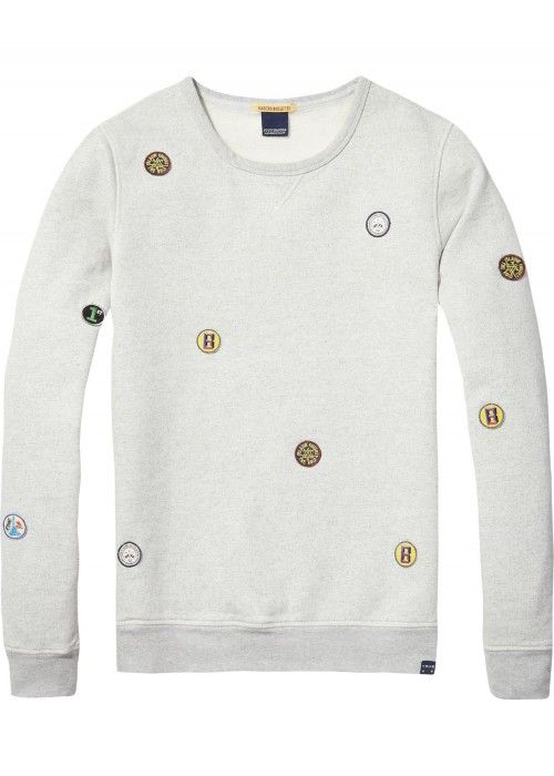 Scotch & Soda AMS Blauw Clean Sweat With Art