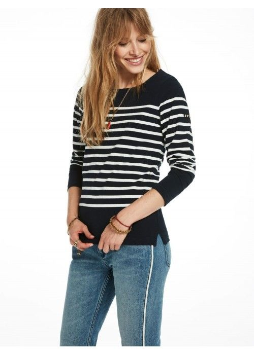Maison Scotch Boyfriend fitted L/S breton te