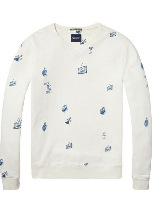 Scotch & Soda AMS Blauw All Over Printed Swe