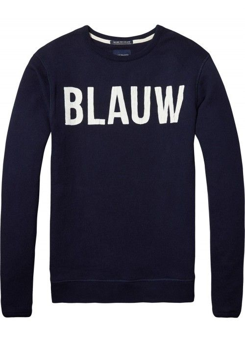 Scotch & Soda AMS Blauw Signature Brand Swea