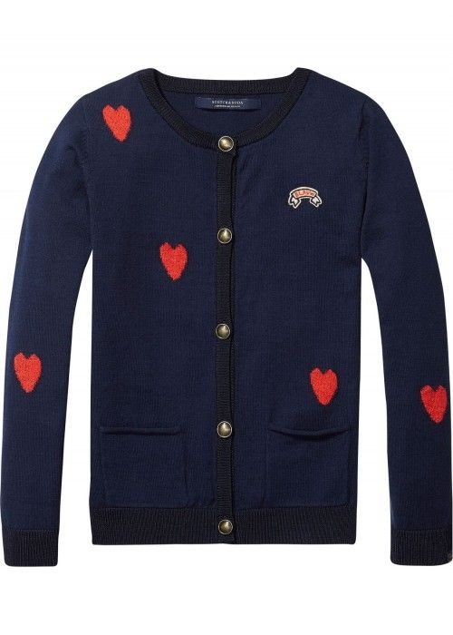 Scotch R'belle Heart Intarsia Cotton Cardigan