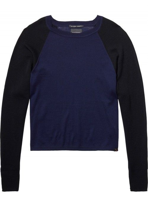 Maison Scotch Crew Neck Knit with side butto