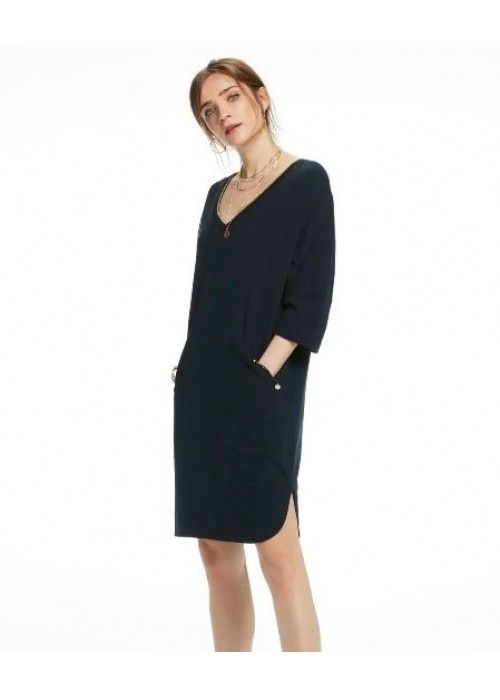Maison Scotch Sweat dress with striped ribs