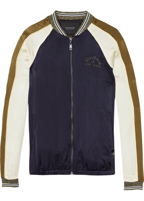 Maison Scotch Colour blocked bomber jacket