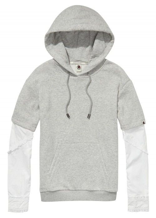 Maison Scotch Hooded sweat with shirt sleeve