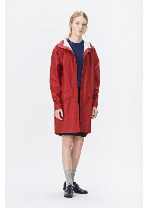 Rains Long Jacket Scarlet