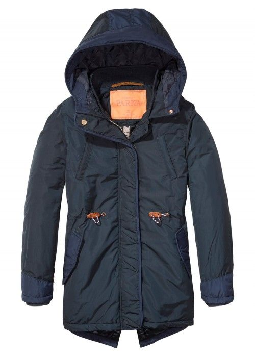 Scotch R'belle Hooded Shell Parka With Contra