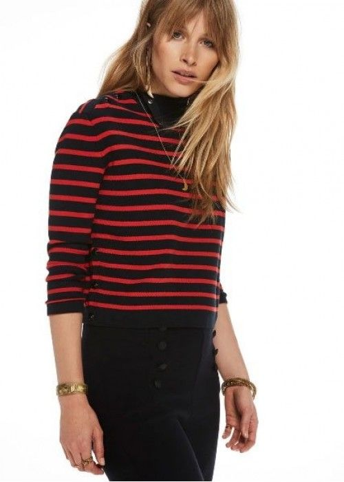 Maison Scotch High neck knit sailor top