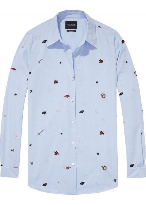 Maison Scotch Long Sleeve Button Up Embroide