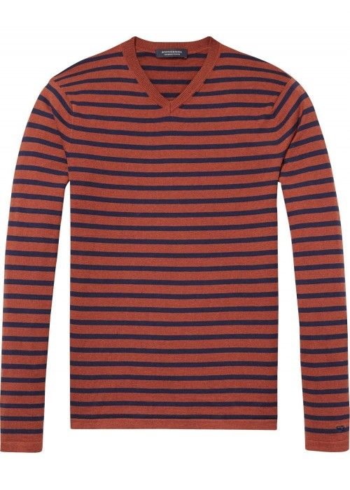 Scotch & Soda V-Neck Pullover In Soft Cotton