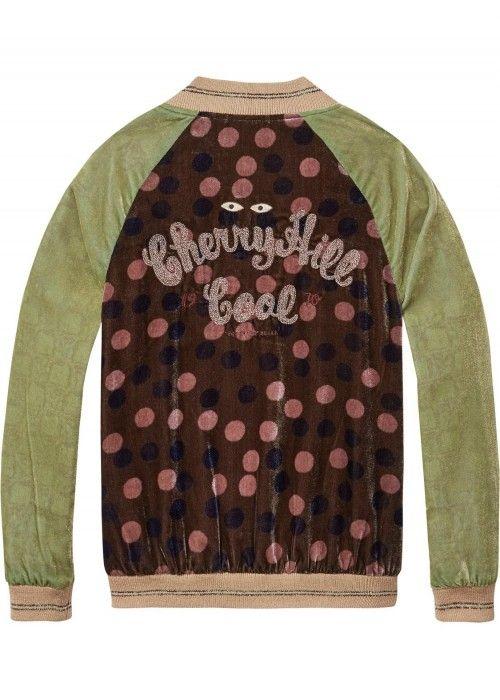 Scotch R'belle Polka Dot Velvet Bomber Jacket