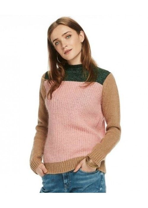 Maison Scotch Colour Blocked High Neck Knit