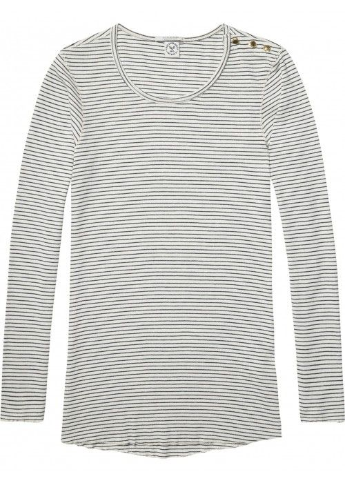 Maison Scotch Long sleeve rib Tee with shoul