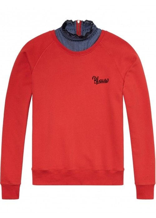 Maison Scotch Super soft sweat with woven