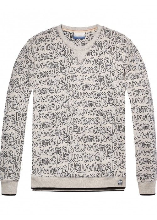 Scotch & Soda Ams blauw allover printed neck