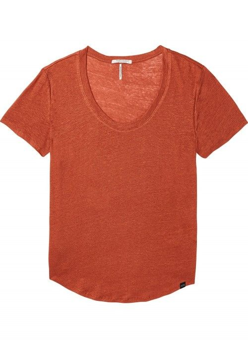 Maison Scotch Basic linen scoop neck with 7