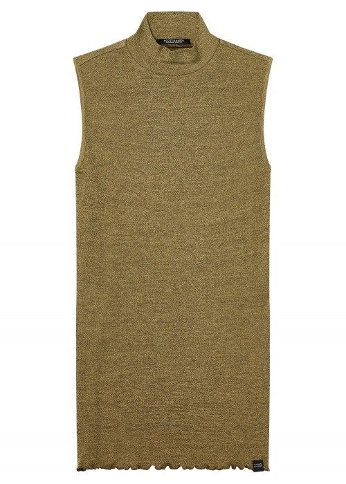 Maison Scotch High neck sleeveless rib top
