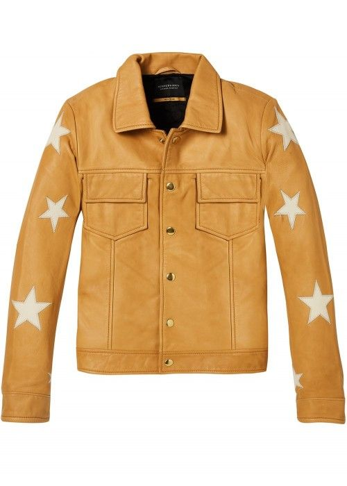 Maison Scotch Leather jacket with press