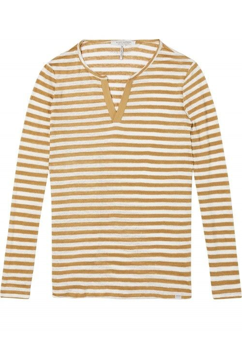 Maison Scotch Linen long sleeve tee with wov