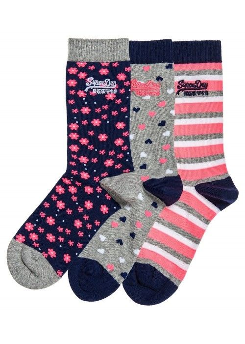 Superdry Floral heart sock triple