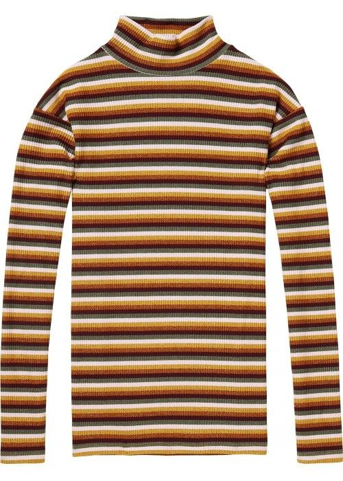 Maison Scotch High neck long sleeve striped