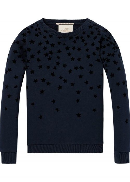 Scotch R'belle Crew neck sweat with flock
