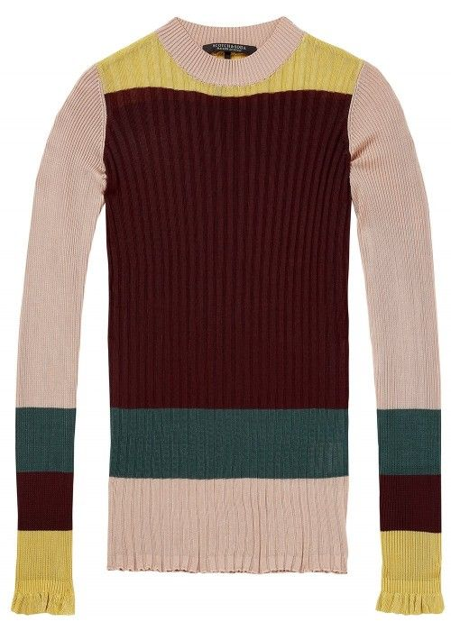 Maison Scotch Rib knit in colour block & str