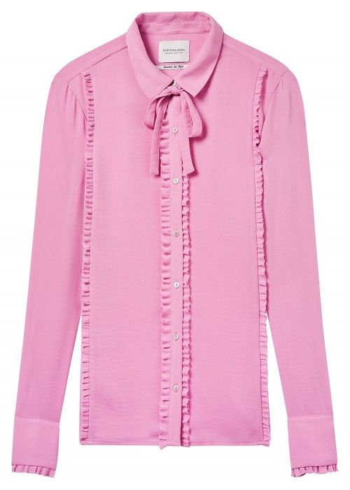 Maison Scotch Shirt with ruffles and shell