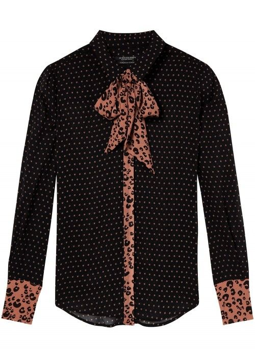 Maison Scotch Mixed print shirt with bow