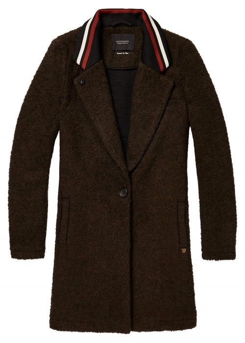 Maison Scotch Bonded wool jacket with stripe
