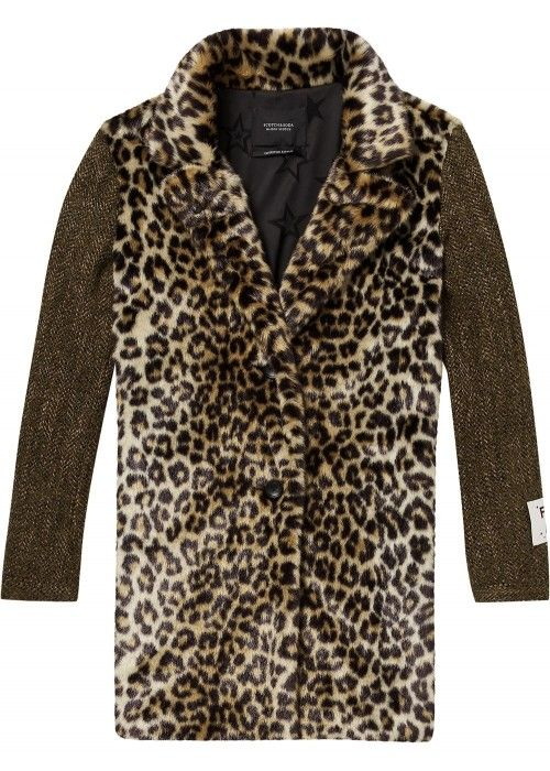 Maison Scotch Faux fur coat with contrast wo