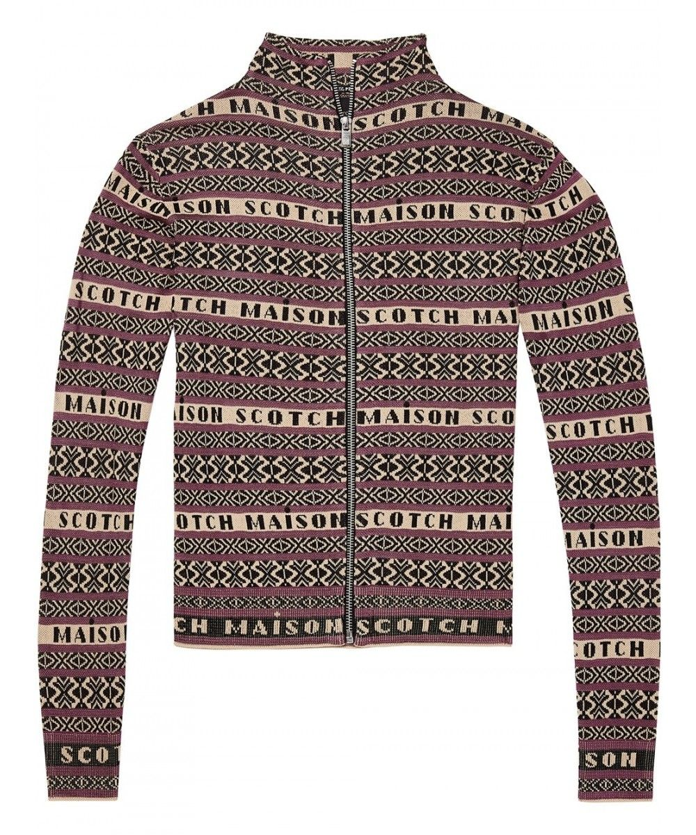 Maison Scotch High knitted zip through cardi