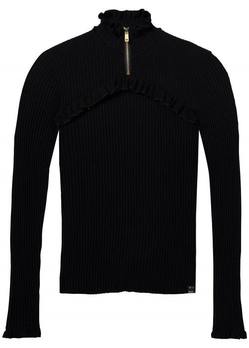 Maison Scotch Rib knit with ruffles & zip