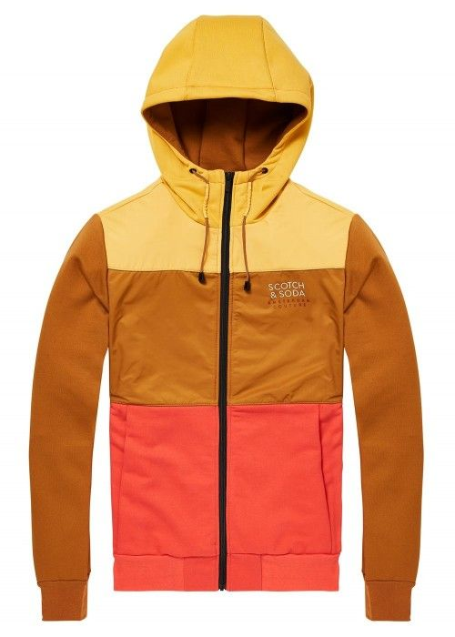 Scotch & Soda Colourblock zip-thru hoodie