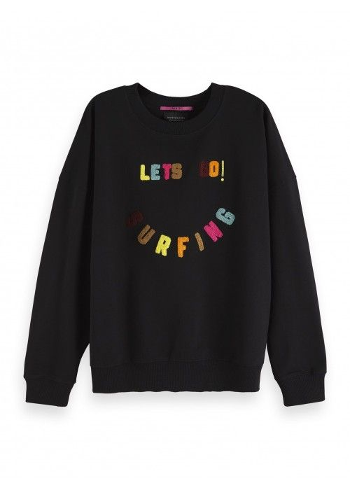 Maison Scotch Crewneck sweat with colourful