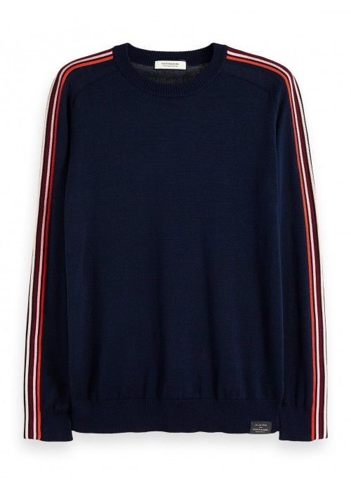 Scotch & Soda Crewneck Pull with bright stri